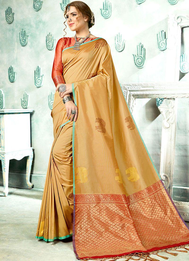 Woven Art Silk Beige Designer Saree