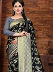 Woven Art Silk Black Designer Saree