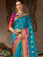 Woven Art Silk Blue Designer Saree