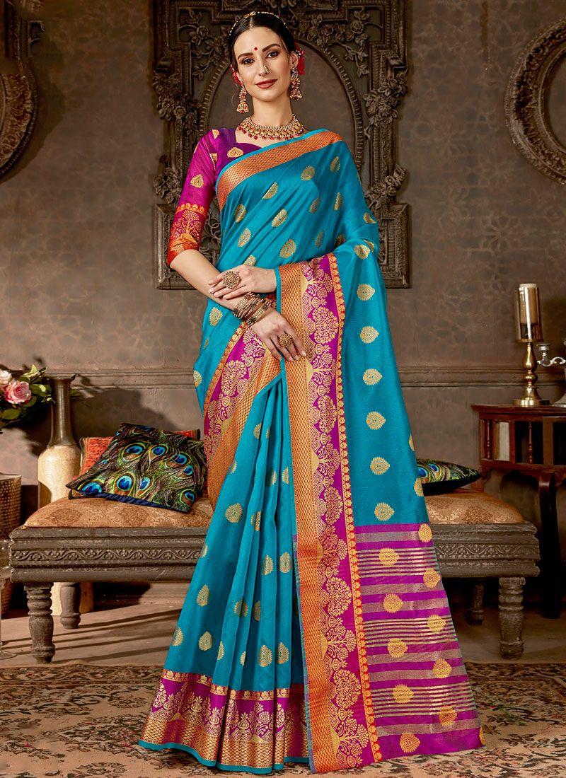 Woven Art Silk Blue Designer Saree