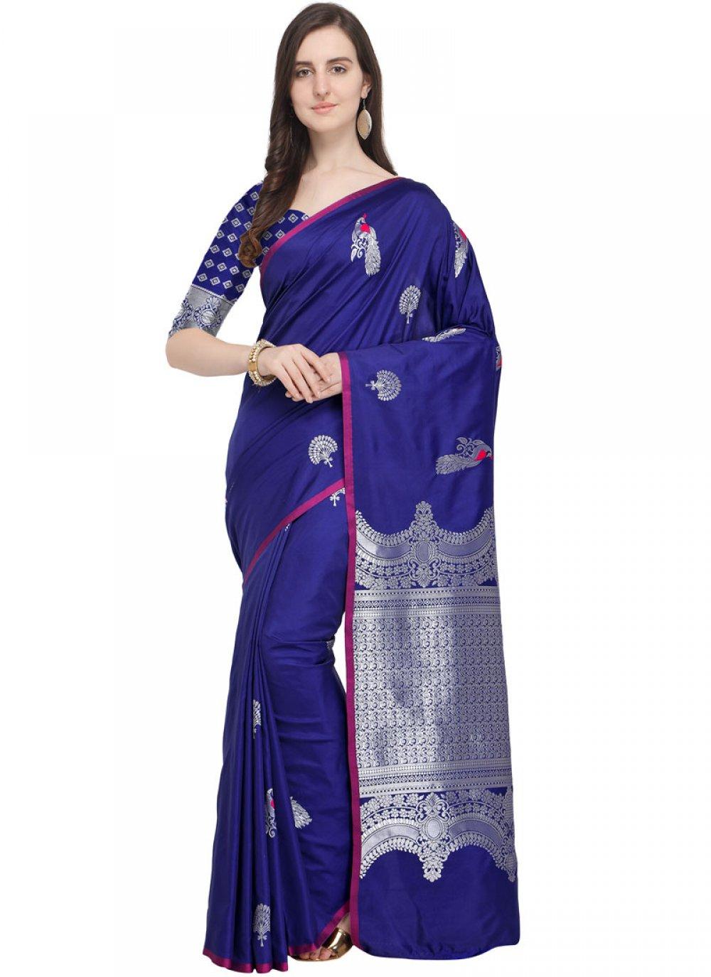 Woven Art Silk Blue Traditional Designer Saree