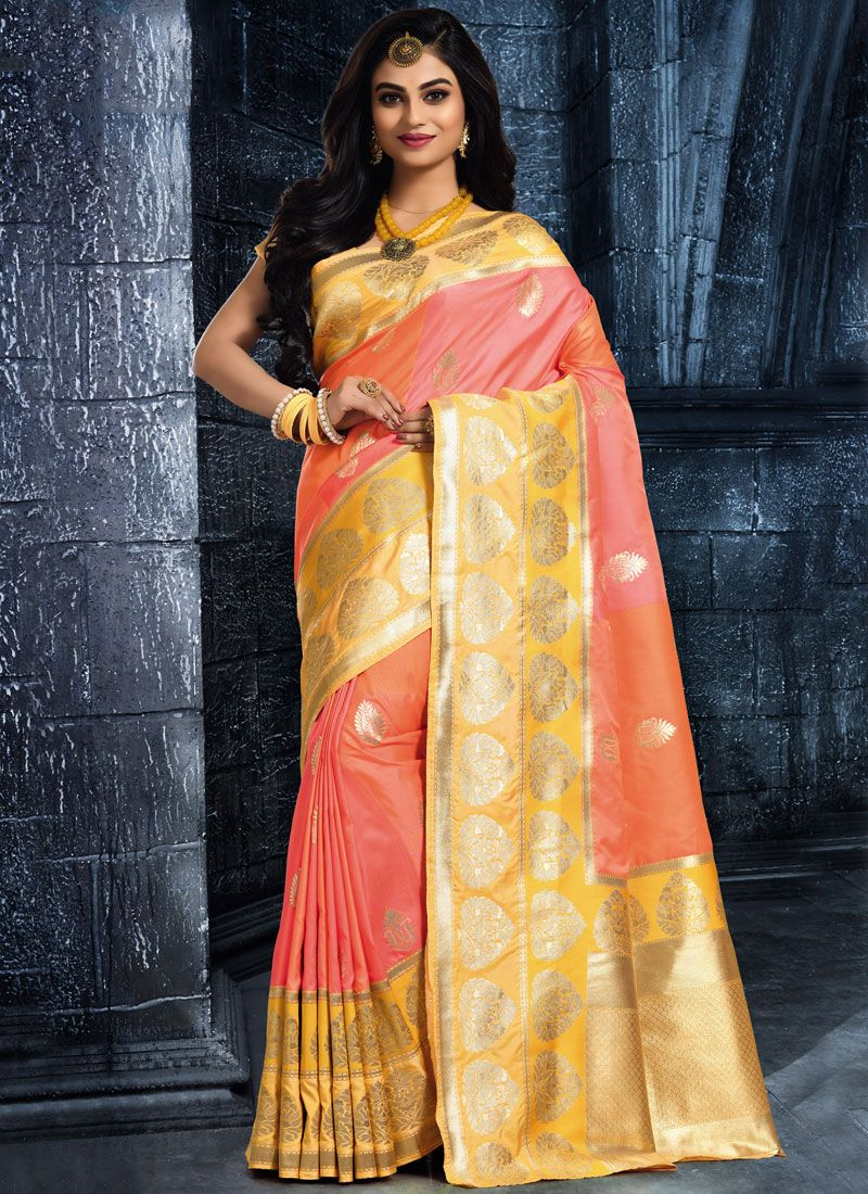 Woven Art Silk Classic Saree in Peach and Yellow