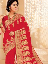Woven Art Silk Classic Saree in Red
