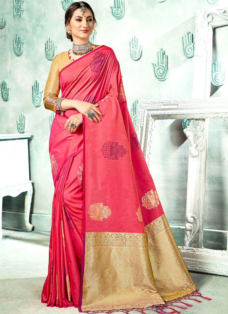 Woven Art Silk Classic Saree in Rose Pink
