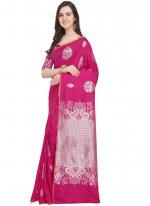 Woven Art Silk Designer Traditional Saree in Hot Pink