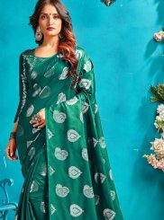 Woven Art Silk Designer Traditional Saree in Sea Green