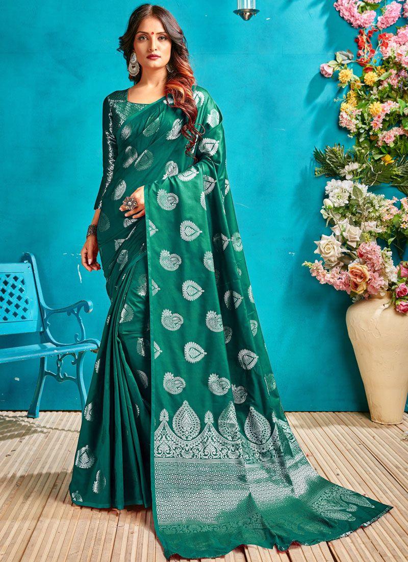 Woven Art Silk Designer Traditional Saree in Sea Green
