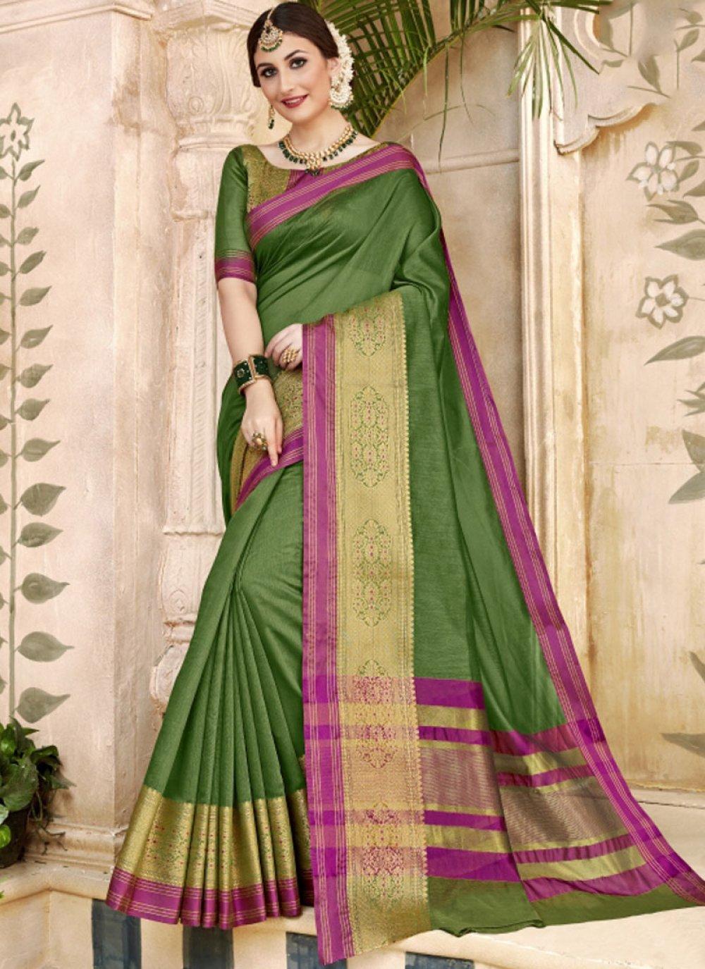 Woven Art Silk Green Traditional Designer Saree