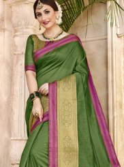 Woven Art Silk Green Traditional Designer Saree
