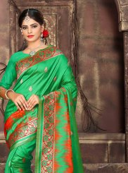 Woven Art Silk Green Traditional Saree