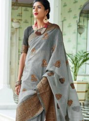 Woven Art Silk Grey Designer Traditional Saree
