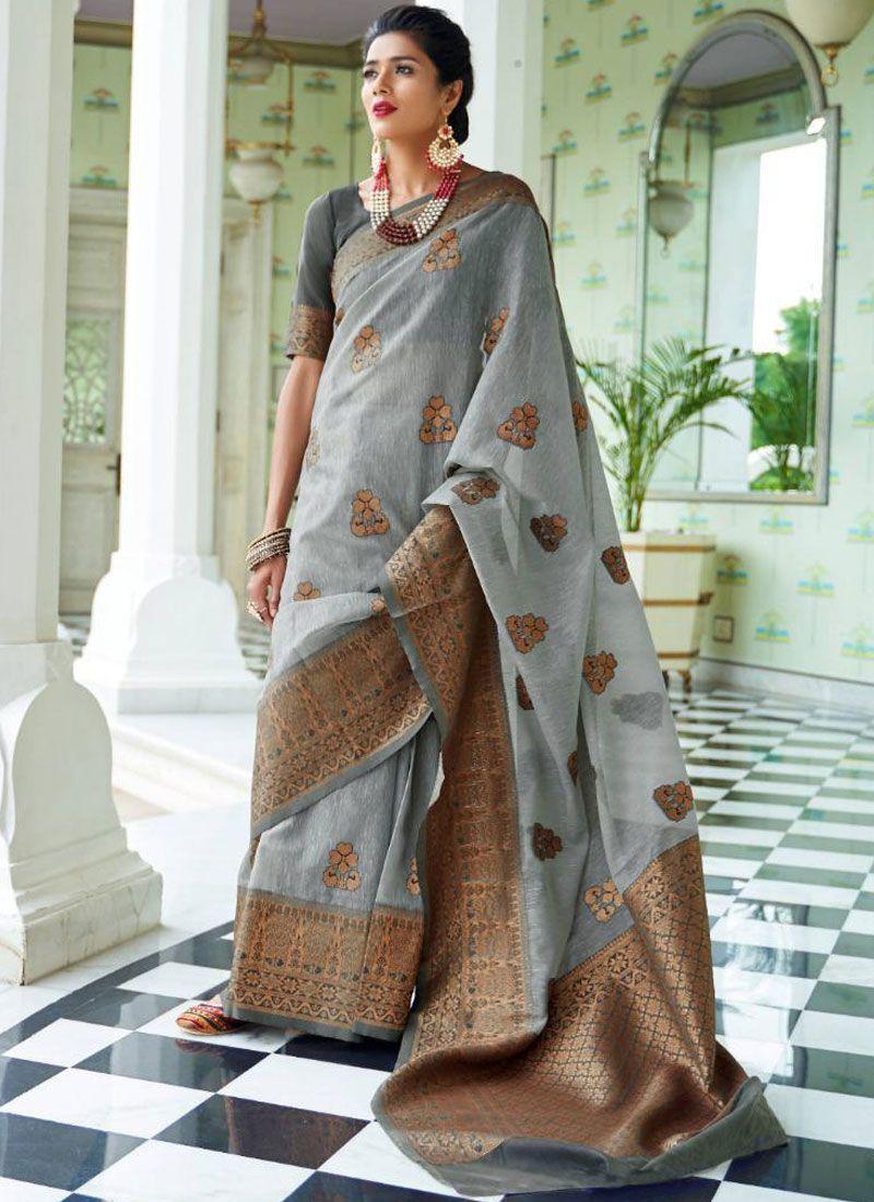 Woven Art Silk Grey Designer Traditional Saree