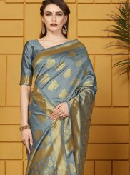 Woven Art Silk Grey Traditional Saree