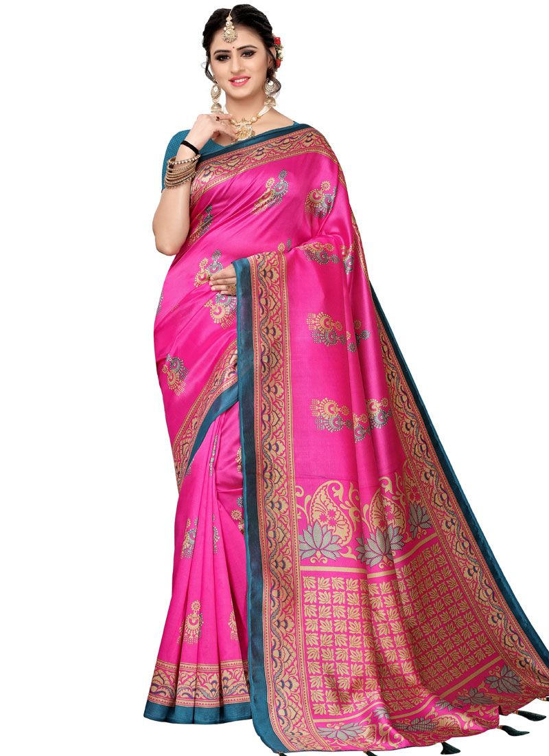 Woven Art Silk Hot Pink Traditional Saree