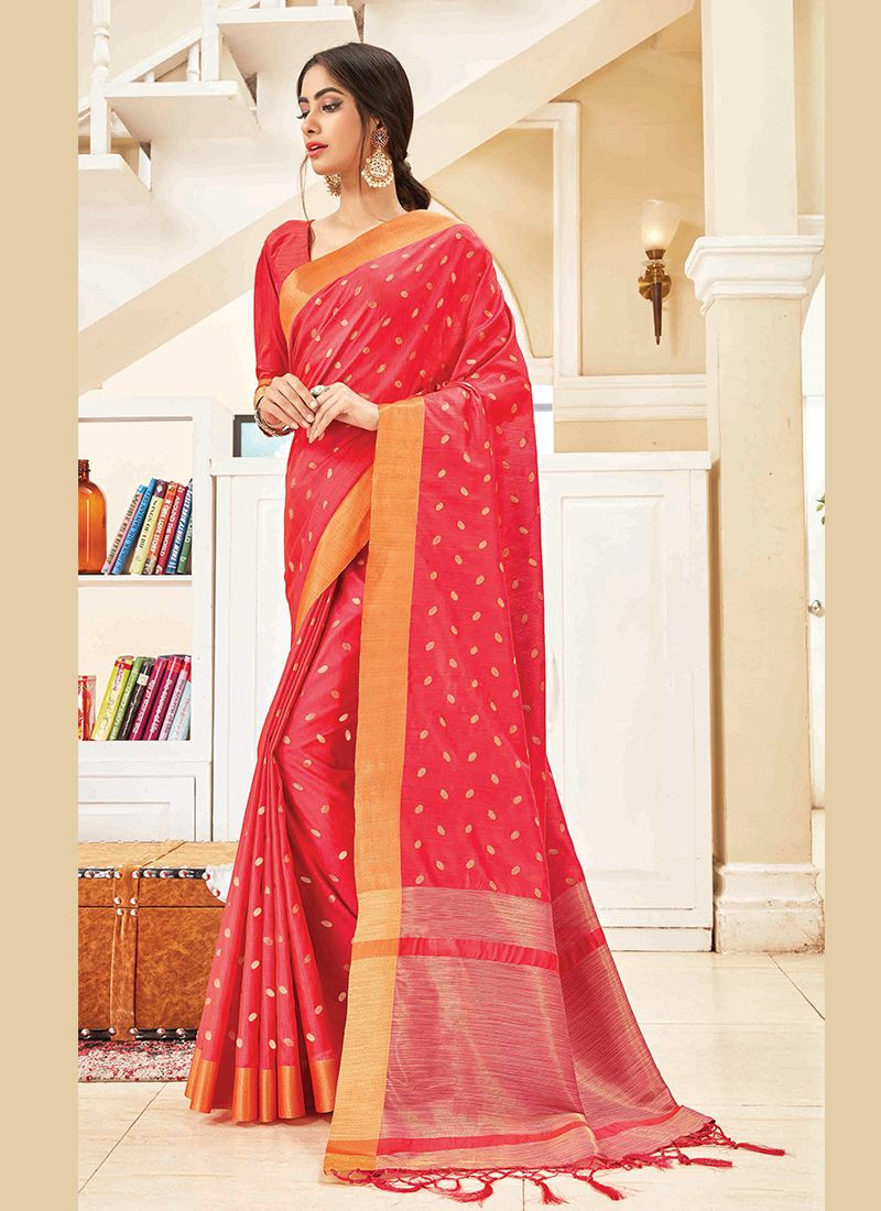 Woven Art Silk Pink Designer Traditional Saree