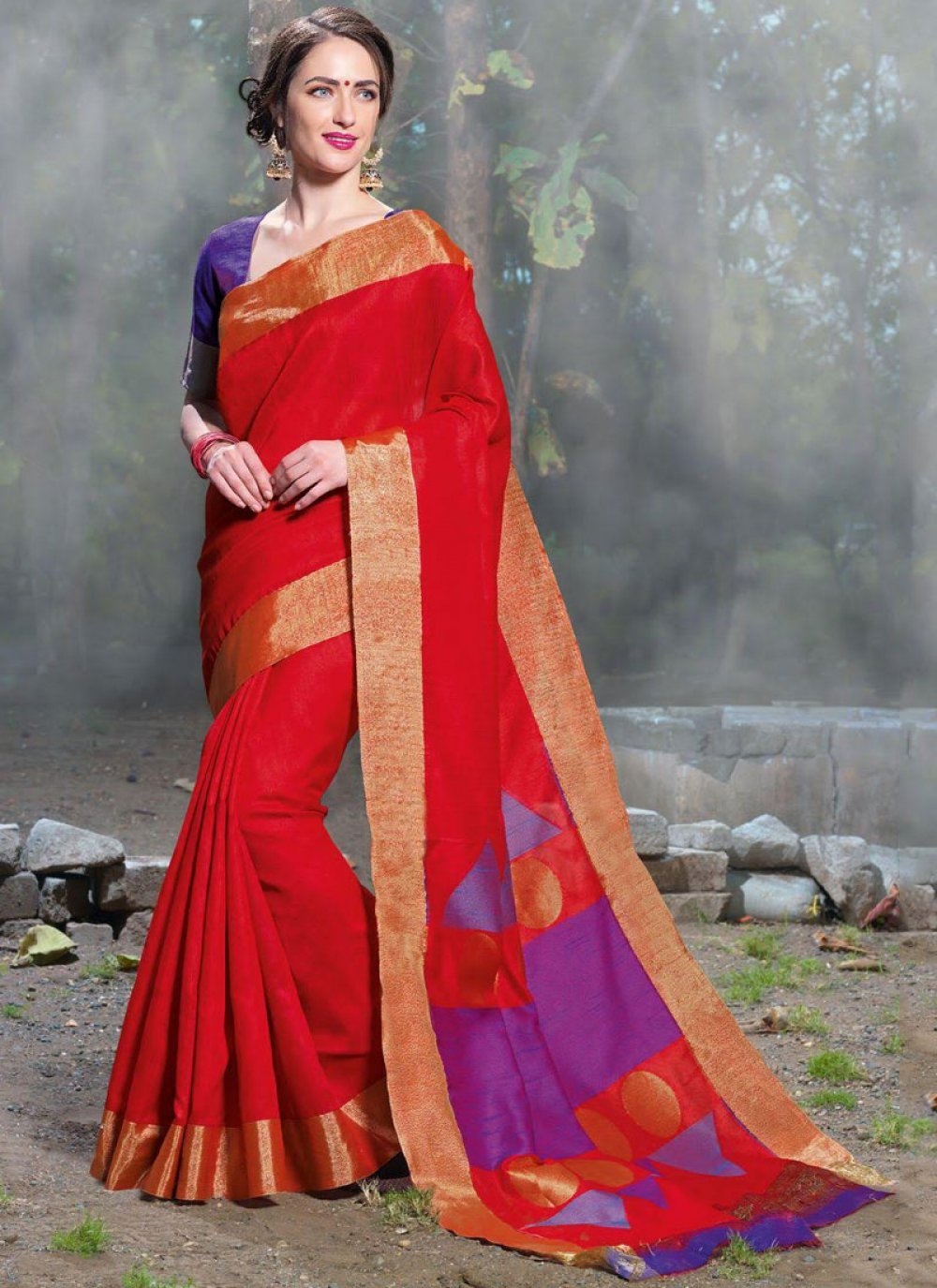 Woven Art Silk Red Traditional Saree
