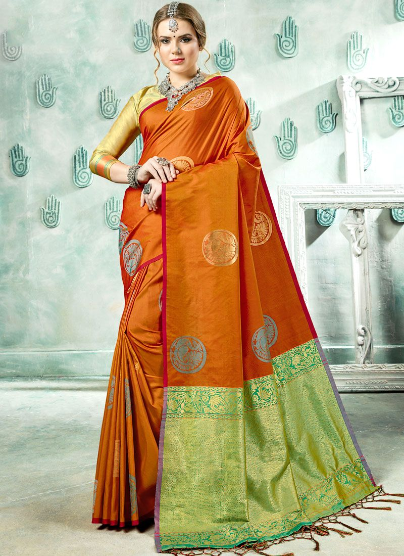 Woven Art Silk Rust Designer Saree