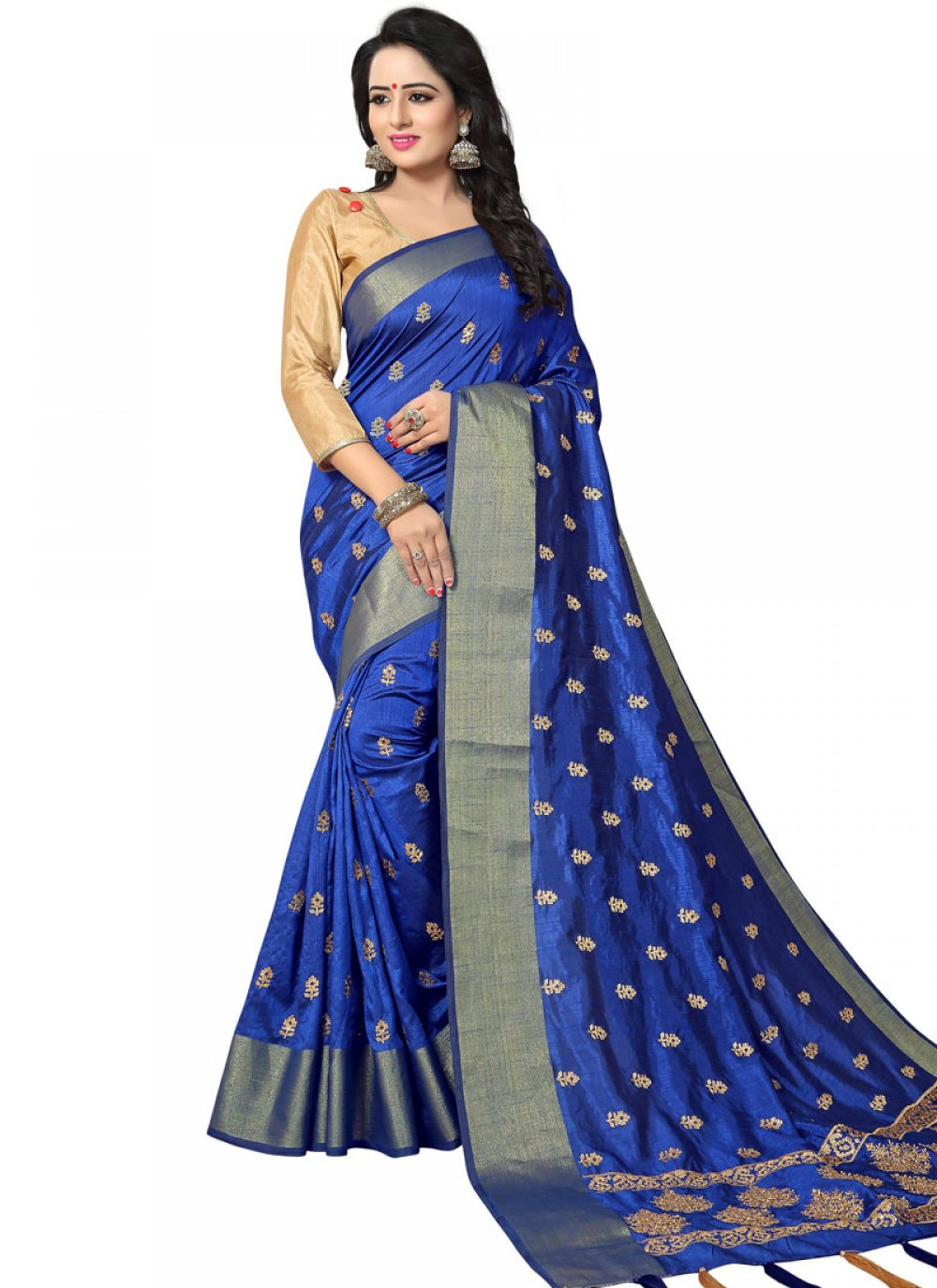 Woven Art Silk Traditional Designer Saree in Blue