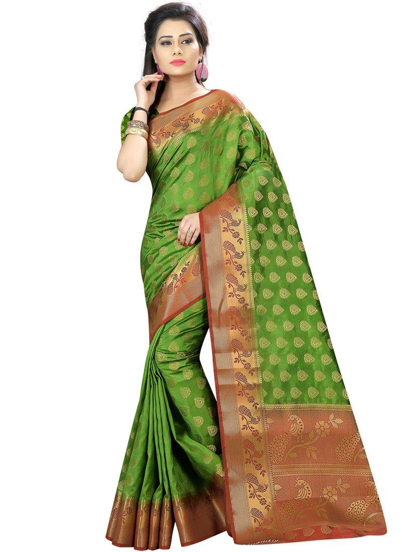 Woven Art Silk Traditional Designer Saree in Green