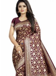 Woven Art Silk Traditional Designer Saree in Maroon