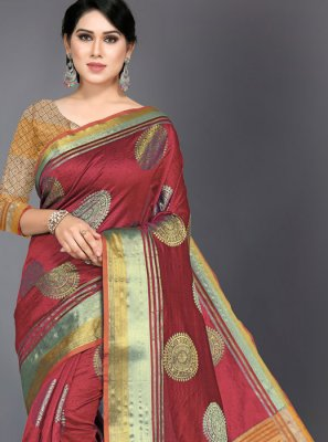 Woven Art Silk Traditional Saree in Red