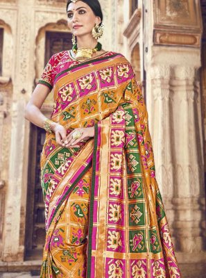 Woven Banarasi Silk Classic Designer Saree in Mustard