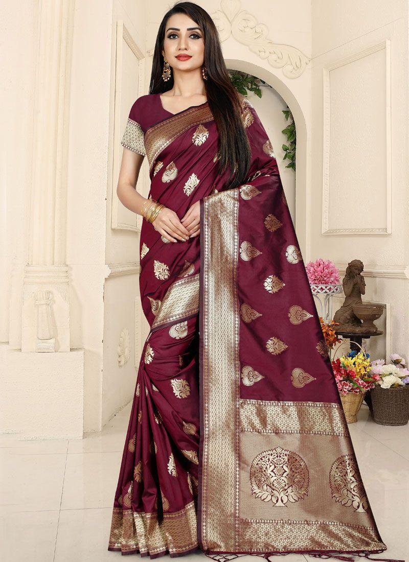 Woven Banarasi Silk Classic Saree in Maroon