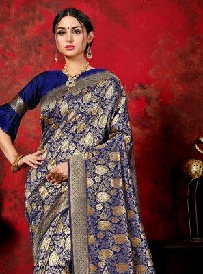 Woven Banarasi Silk Classic Saree in Navy Blue