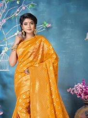 Woven Banarasi Silk Mustard Classic Designer Saree