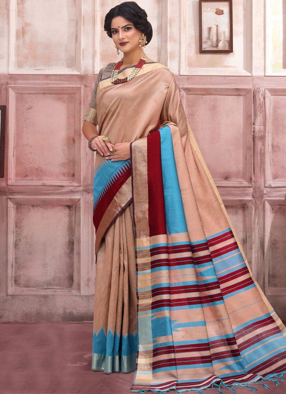 Woven Beige Art Silk Designer Traditional Saree