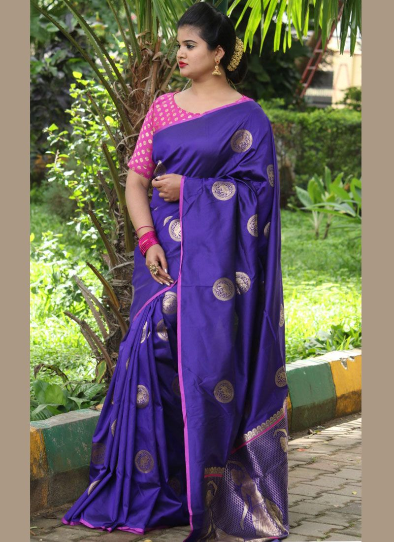 Woven Blue Art Silk Designer Traditional Saree