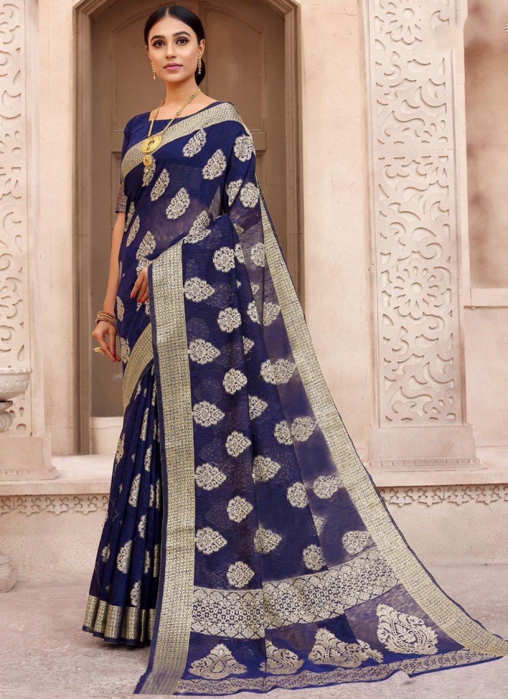 Woven Blue Fancy Fabric Designer Traditional Saree