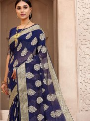 Woven Blue Fancy Fabric Designer Traditional Saree