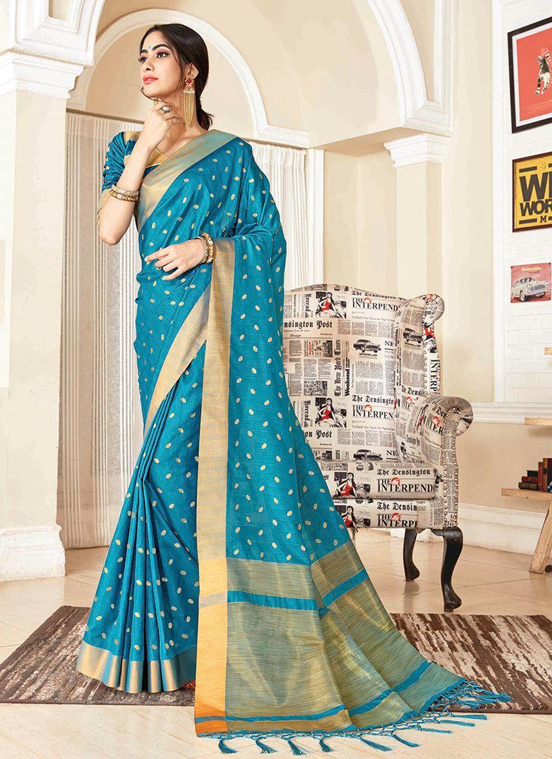 Woven Blue Traditional Designer Saree