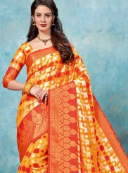 Woven Brasso Orange Traditional Designer Saree
