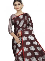 Woven Brown Art Silk Traditional Saree