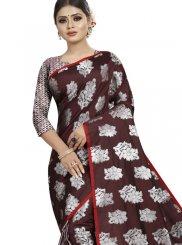 Woven Brown Art Silk Traditional Saree