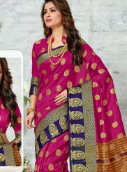 Woven Chanderi Magenta Classic Designer Saree