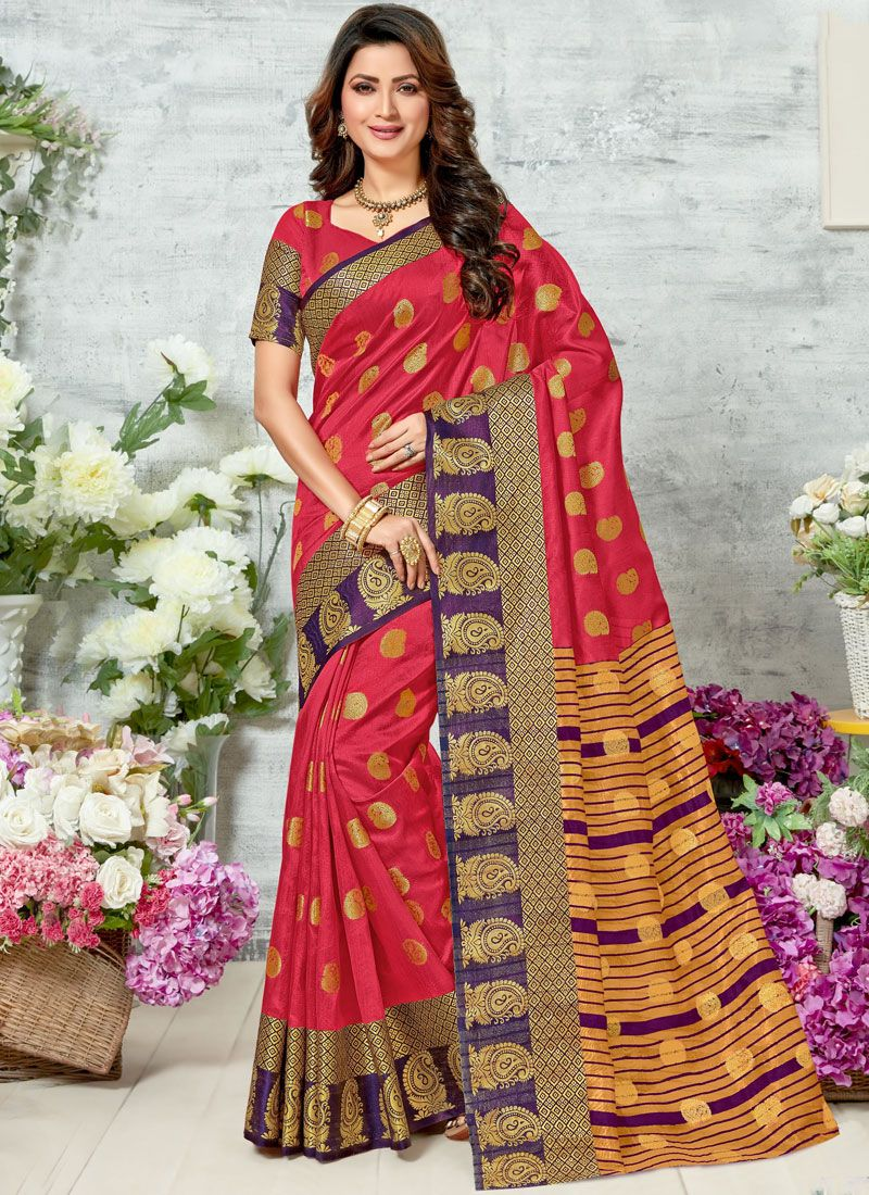 Woven Chanderi Red Classic Designer Saree