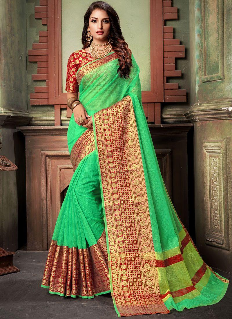 Woven Cotton Green Classic Designer Saree