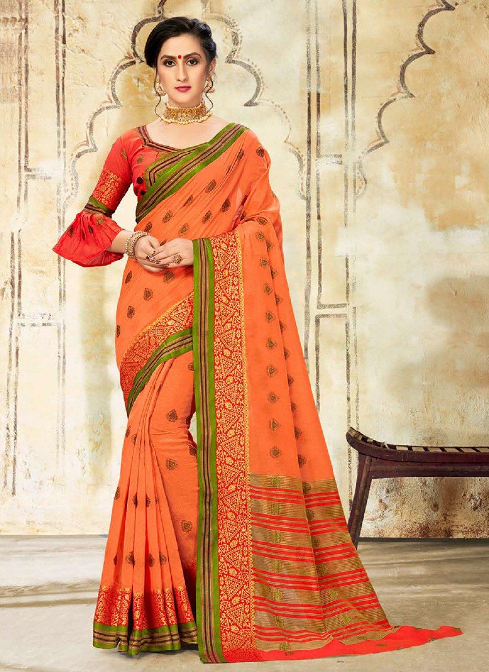 Woven Cotton Silk Traditional Designer Saree in Orange
