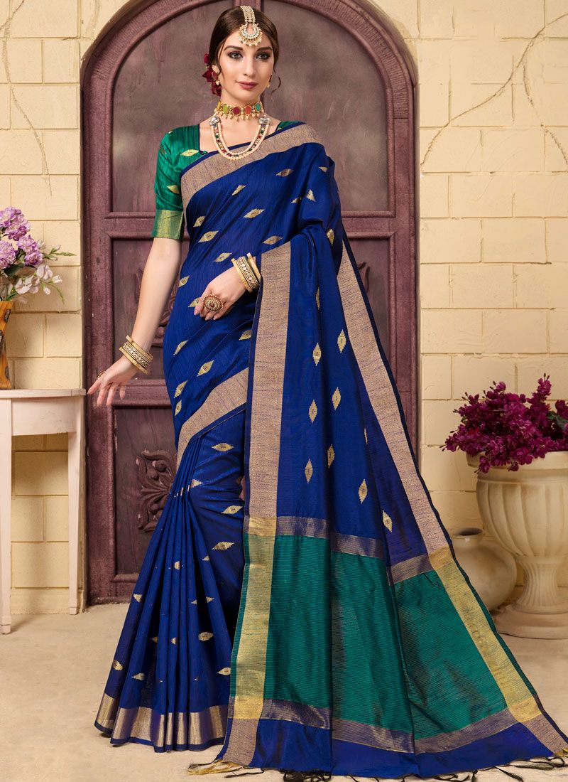 Woven Fancy Fabric Blue Traditional Saree