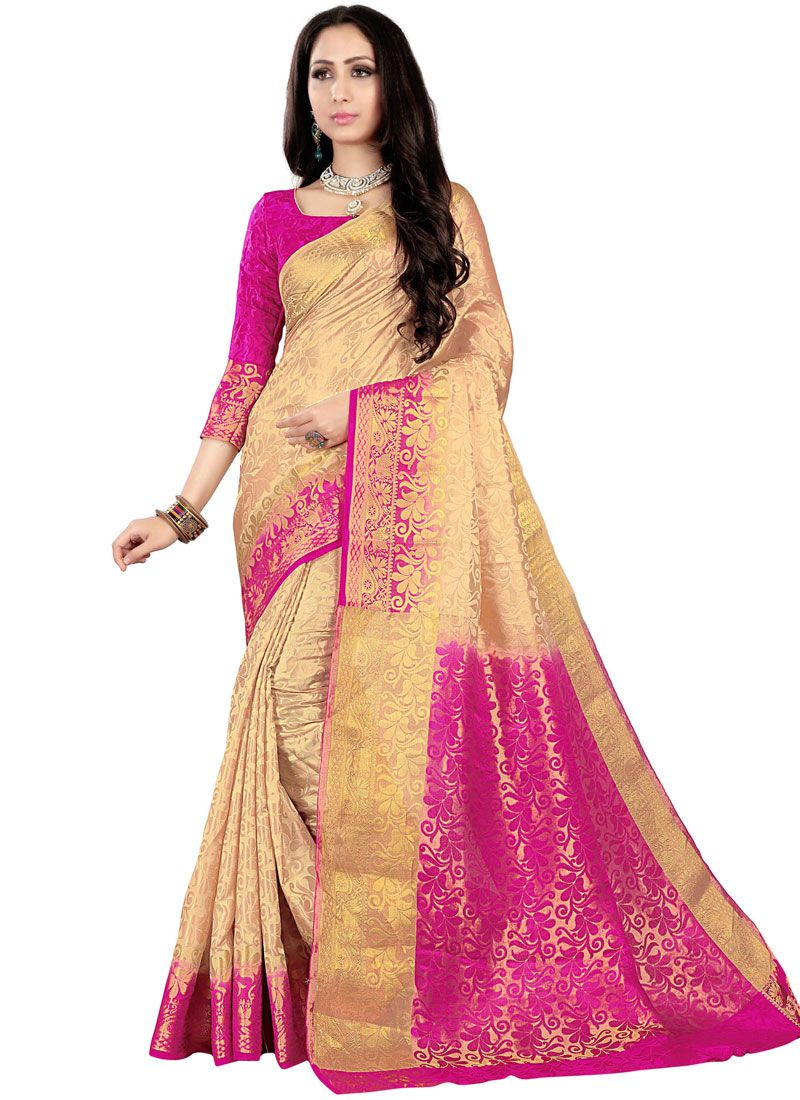 Woven Fancy Fabric Cream and Hot Pink Traditional Saree