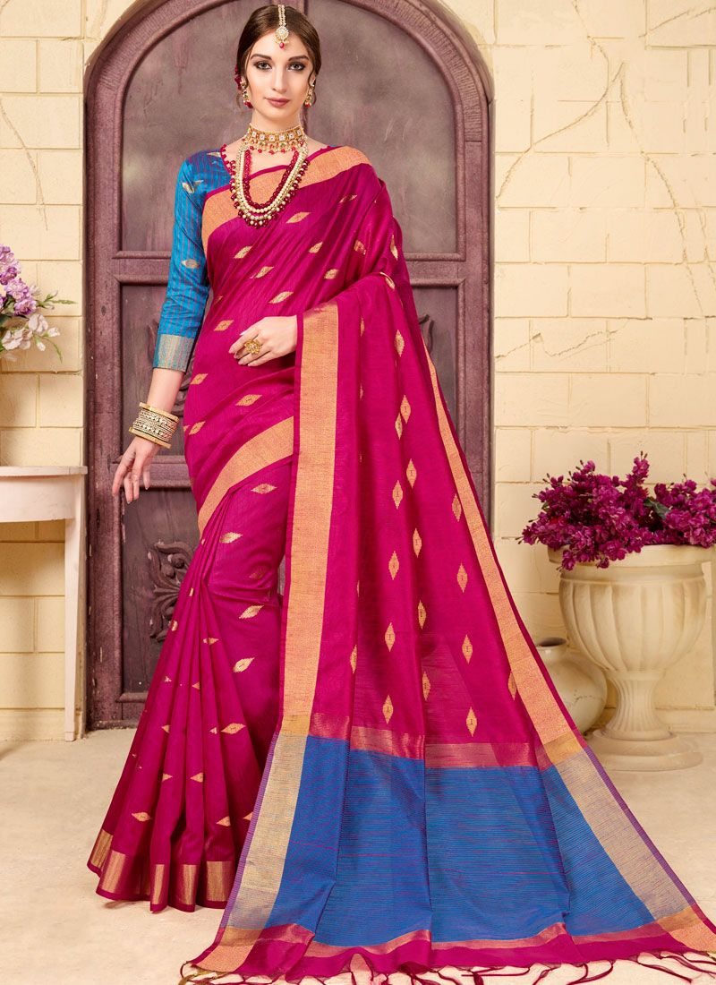Woven Fancy Fabric Hot Pink Traditional Designer Saree