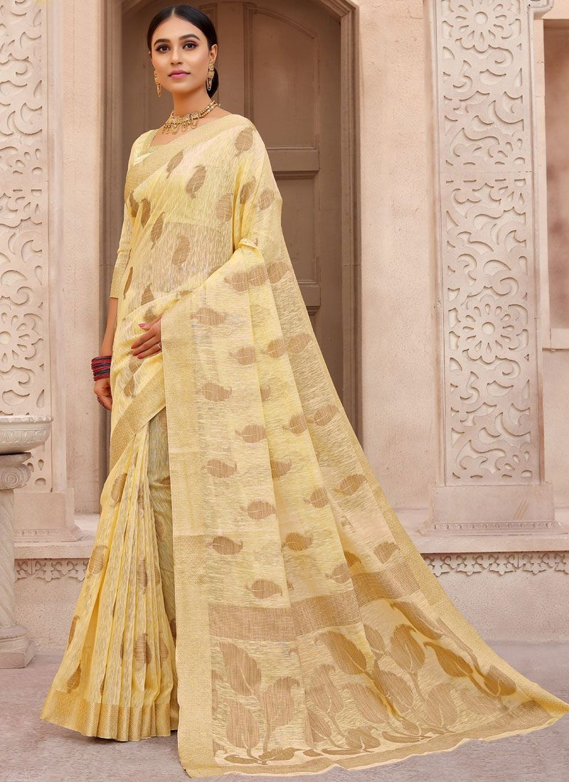 Woven Fancy Fabric Traditional Designer Saree in Yellow
