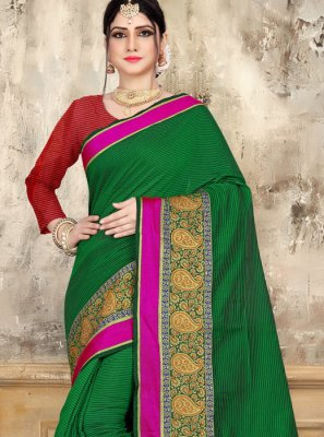Woven Green Cotton Saree