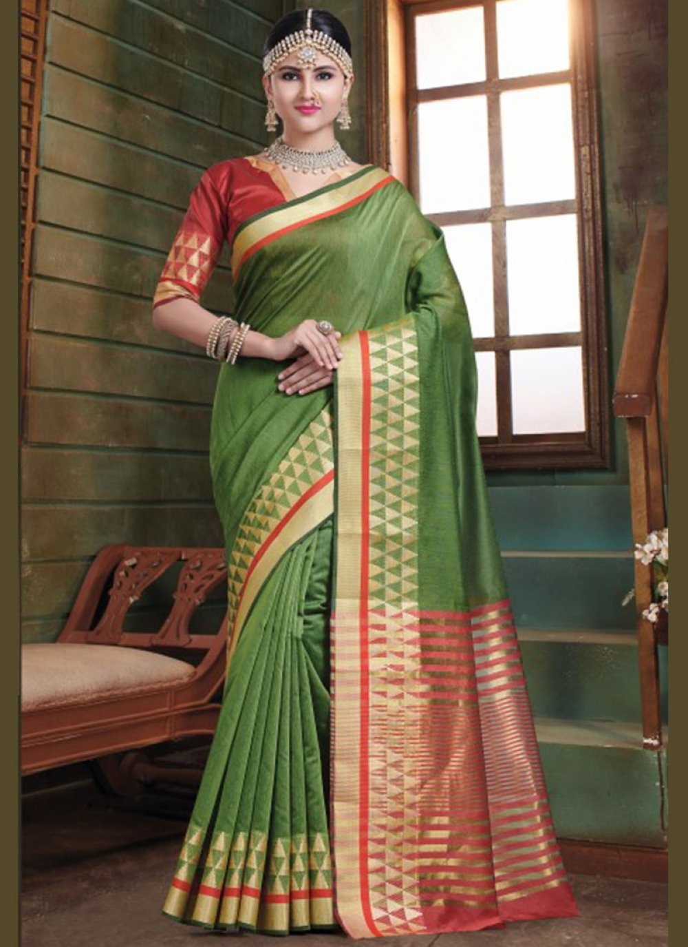 Woven Green Designer Traditional Saree