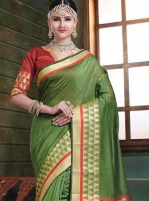 Woven Green Designer Traditional Saree