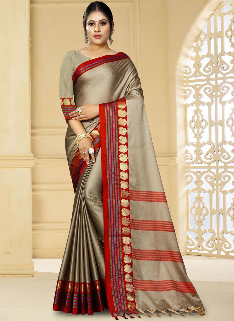 Woven Grey Traditional Saree