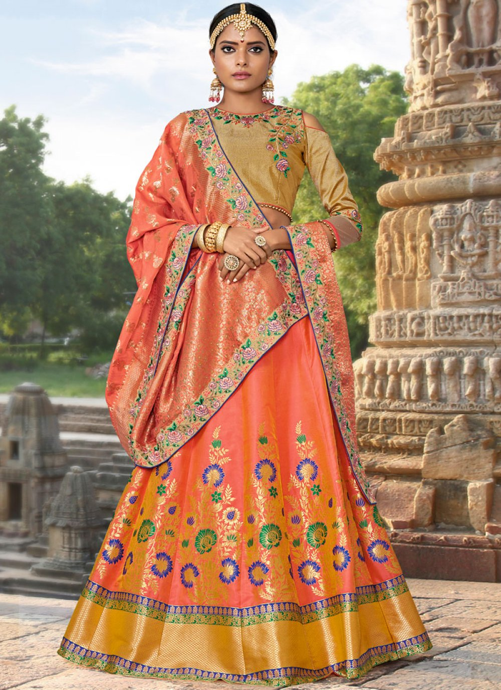 Woven Jacquard Silk Designer Lehenga Choli in Orange